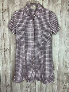 Women's Eddie Bauer Purple Plaid Linen-Rayon Shirt Dress Pockets Petite Small