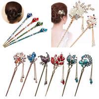 Women Metal Rhinestone Handmade Hair Stick Hair Chopsticks Hairpin Pin Chignon
