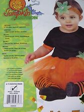 3pc Baby Girl Halloween Costume Party Tutu Dress Orange Leggings 6-9M Pumpkin
