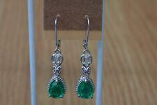 4.00ct Emerald Green Quartz  / Topaz  Earrings Platinum Plated  ~ VVS