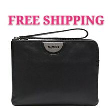FREE POST MIMCO ECHO BLACK GUNMETAL MEDIUM POUCH WALLET COW LEATHER RRP99.95