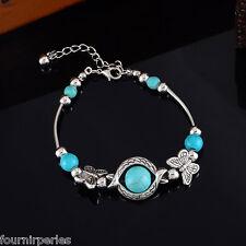 FP 1 Bracelet Breloques Perles Papillons Turquoises Mode Femme Bijoux 19cm
