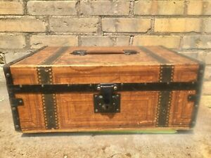 ANTIQUE 1888 - VICTORIAN - M.M. SECOR - CHILD'S DOLL FASHION TOY WOODEN TRUNK