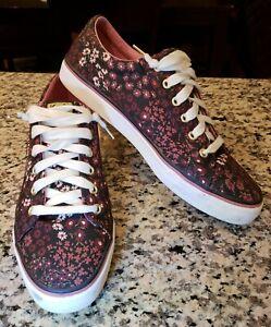 EUC Keds Dream Foam Womens Lace Up Purple Flowers Canvas Sneakers Shoes Size 10!
