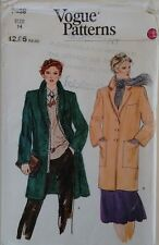 Vogue 7439 Classic Winter Wool Single Breasted Coat with Notch or Shawl Collar