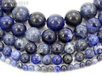 Natural Sodalite Jasper Gemstone Round Beads 15.5'' 4mm 6mm 8mm 10mm 12mm 14mm