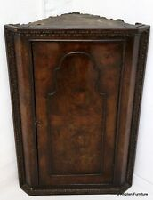 18th Century Style Walnut Veneer Hanging Corner Cupboard FREE Delivery