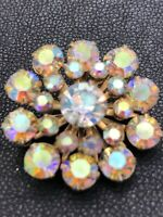 Beau Jewels Aurora Borealis Rhinestone Goldtone Vintage Brooch Pin