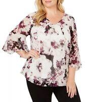 SIZE 0X / XL Calvin Klein Women's Angel Sleeve Chiffon Top Blouse Shirt NWT New