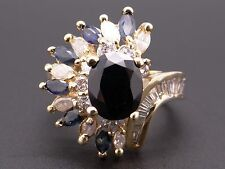 14k Yellow Gold 5.50ct Oval Cut Blue Sapphire Diamond Halo Cluster Ring Size 10