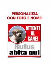 """Cartello personalizzato """"Attenti al cane"""" con foto e nome"""