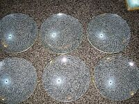 6 X VINTAGE 1955 CHANCE GLASS SWIRL PATTERN DISHES 8.25 INCHES ROUND