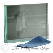 Heavy Solid Glass photo frame - two 7x5 inch horizontal pictures GT602-57H