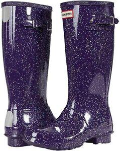 Hunter Big Kids Rain Boots - Purple Glitter  /  US 2