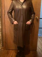 BARNEYS NEW YORK Womens Brown Knee Length LAMBSKIN LEATHER Coat Jacket Size L