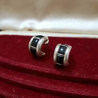 SILPADA STERLING SILVER HOOP EARRINGS, HUGGIE, BLACK OBSIDIAN GEMS, 925 SILVER