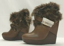 GENUINE Ladies Womens Boots Size UK 3 EU 36 Brown Wedge platform Ankle High Heel