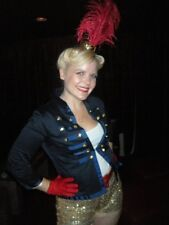 CIRCUS RING LEADER HALLOWEEN COSTUME BLUE JACKET RED BOOT & MINI TOP HAT FEATHER