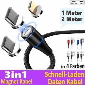 Schnell Ladekabel + Daten für Samsung Magnet 1m   2m Micro USB Typ-C LG Huawei