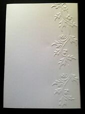 5 Blank A6 White Embossed Cards/Envelopes/Sleeves - Holly Leaves Panel