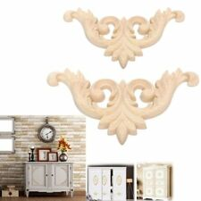 Doors Decoration Appliques Frame Floral Wood Carved Decal Wooden Figurines