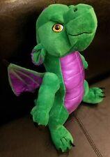 "Animaland DRAGON 16"" Plush Metallic Green Purple 2006 Stuffed Animal"