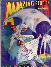 GLOSSY UNREAD Nov 1932 Bedsheet Mag! 25c AMAZING STORIES 'Scientific Fiction!'