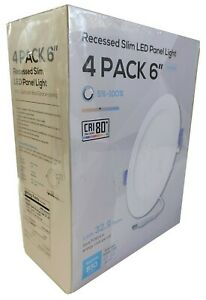 "TORCHSTAR 4 Pack 6"" Recessed Slim LED Panel Lights w/ Junction Box"