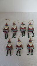 Set of 7 Christmas Metal Santa Feet Dangling Ornaments