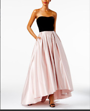 BNWT Betsy & Adam Strapless High-Low Ball Gown Velvet & Blush Wedding Ready $279