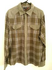 Mens XL Guess Green Multicolor Plaid Long Sleeve Pearl Snap Button Western Shirt