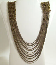 BRONZE Seed BEADS CHAINS Flapper Necklace Draped Copper Vintage STUNNING Estate
