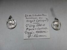 lot de 2 medaille religieuse SAINTE VIERGE MARIE ajourée signée MAZZONI  argent