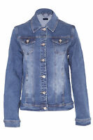 Womens Ladies Denim Jacket Vintage Style Washed Detail Blue Size S-5XL