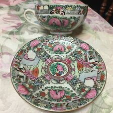 New listing Antique Rose Medallion Chinese Porcelain Tea Cup & Saucer
