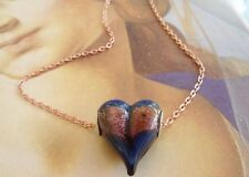 New Dichroic Glass Puffy Heart Necklace 20 inch rose gold colored chain