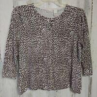 Kim Rogers Women's Size Large Cardigan Sweater Brown Animal Print