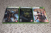 BioShock 1 2 & Infinite Microsoft Xbox 360 Lot Bundle Complete