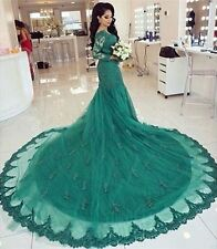 New Green Lace Long Sleeve Bridal Dress Muslim Bride Wedding Gowns Size 6 8+10+