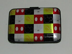 Mickey Mouse Card Wallet New RFID Blocking Holds Cards ID Black Red Yellow