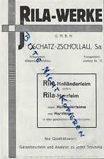 OSCHATZ-ZSCHÖLLAU, Werbung 1929, RILA-Werke GmbH Holländer-Leim Harzleim