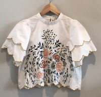 Zara Floral Embroidered Ruffle Sleeve Cropped Blouse Top Uk XS Bloggers Fave