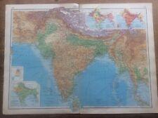 1942 Vintage John Bartholomew Atlas Map 20� India
