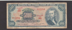 5000 CRUZEIROS VG BANKNOTE FROM BRAZIL 1964 PICK-174