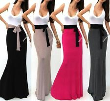 USA MADE V NECK CLEAVAGE SLEEVELESS TWO TONE TANK BELTED LONG MAXI DRESS S M L