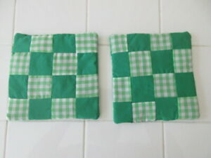 "Set of 2 Handmade Square Green Patchwork Cotton Potholders, 6-7"""
