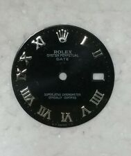 DIAL FOR ROLEX OYSTER PERPETUAL DATE BLACK COLOR WITH SILVER ROMAN NUMBERS