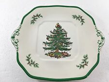 Spode Christmas Tree Square Handled Cake Plate Tray 11 1/2 inches