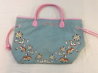 Ed Hardy Designs Light Blue And Pink Flowers Carry All Bag