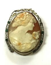 Filigree Cameo With Emerald Gemstones Antique 14K Solid White Gold